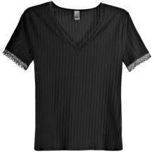 Calida Etude Trend Shirt - V-Neck, Short Sleeve (For Women) in Black - Closeouts