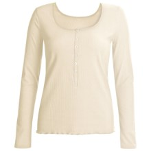 Calida Excelsior Henley Shirt - Stretch Cotton, Long Sleeve (For Women) in Snow White - Closeouts