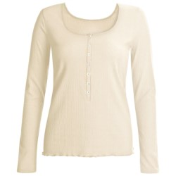 Calida Excelsior Henley Shirt - Stretch Cotton, Long Sleeve (For Women) in Snow White