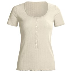 Calida Excelsior Shirt - Stretch Cotton, Short Sleeve (For Women) in Pebble