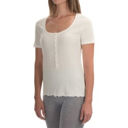 Calida Excelsior Top - Stretch Cotton, Short Sleeve (For Women) in Snow White