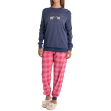 Calida Family Time Cuffed Pajamas - Heavyweight Interlock Cotton, Long Sleeve (For Women) in Seaman Blue - Closeouts