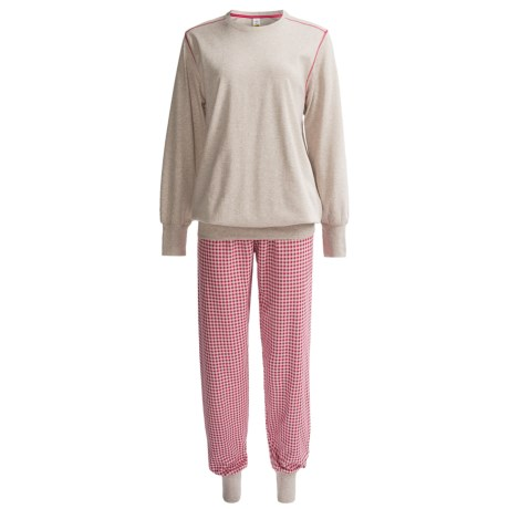 Calida Family Time Pajamas - Interlock Cotton, Long Sleeve (For Women) in Marsh Violet Mele