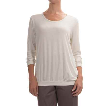 Calida Favourites Micromodal® Pajama Shirt - 3/4 Sleeve (For Women) in Ivory - Closeouts