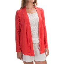 Calida Favourites Open-Front Lounge Shirt - Single Jersey, Long Sleeve (For Women) in Bittersweet - Closeouts