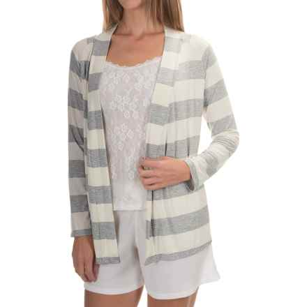 Calida Favourites Open-Front Lounge Shirt - Single Jersey, Long Sleeve (For Women) in Ivory - Closeouts