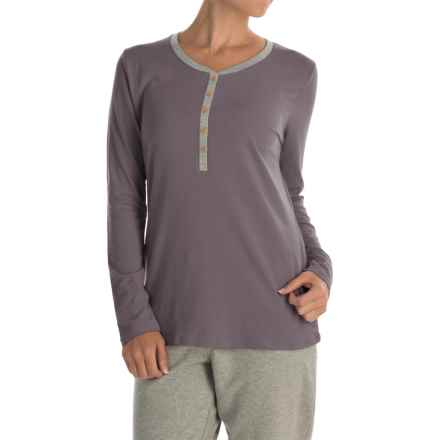 Calida Favourites Trend Pajama Shirt - Long Sleeve (For Women) in Rabbit Grey - Closeouts