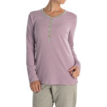Calida Favourites Trend Pajama Shirt - Long Sleeve (For Women) in Seafog - Closeouts