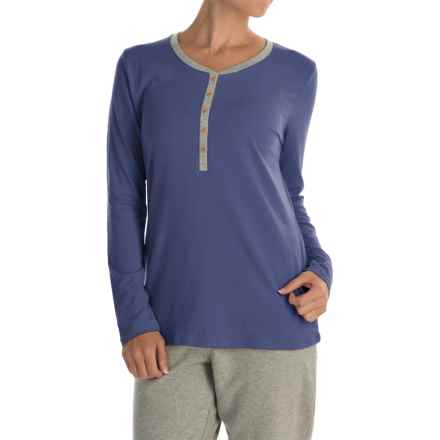Calida Favourites Trend Pajama Shirt - Long Sleeve (For Women) in Seaman Blue - Closeouts