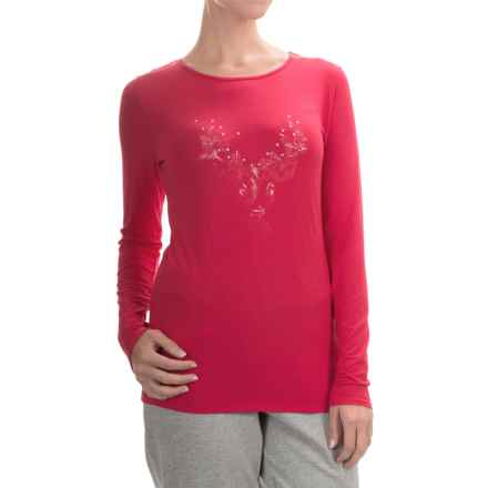 Calida Favourites Trend Stretch Shirt - Micromodal®, Long Sleeve (For Women) in Crimson - Closeouts