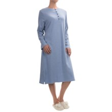 Calida Feeling Home Cotton Nightshirt - Long Sleeve (For Women) in Milky Blue Mele - Closeouts