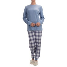 Calida Feeling Home Cotton Pajamas - Long Sleeve (For Women) in Milky Blue Mele - Closeouts
