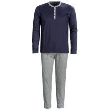 Calida Flep Henley Pajamas - Pure Cotton, Long Sleeve (For Men) in Dark Blue - Closeouts