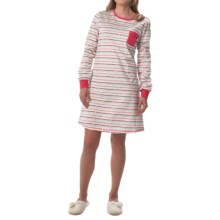 Calida Fresh Lemonade Soft Cotton Nightgown - Long Sleeve (For Women) in Daret Red - Closeouts