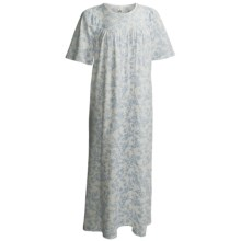 Calida Gathered Neck Nightgown - Interlock Cotton, Short  Sleeve (For Women) in Blue - Closeouts
