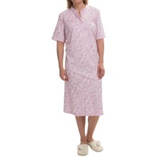 Calida Heavy Cotton Nightshirt - Short Sleeve (For Women) in Bloom Rose-Pink - Closeouts