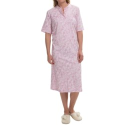 Calida Heavy Cotton Nightshirt - Short Sleeve (For Women) in Bloom Rose-Pink