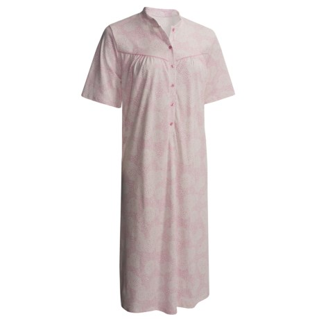 Calida Heavy Cotton Nightshirt - Short Sleeve (For Women) in Sweet Lilac