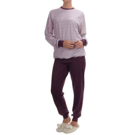 Calida I Feel Fine Pajamas - Cotton, Long Sleeve (For Women) in Plum - Closeouts