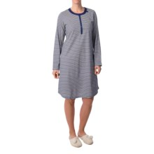 Calida In Bloom Nightshirt - Long Sleeve (For Women) in Blueprint - Closeouts