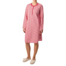 Calida In Bloom Nightshirt - Long Sleeve (For Women) in Daret Red - Closeouts