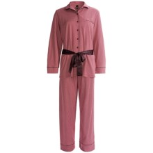 Calida Ingrid Button-Front Pant Pajamas - Interlock Cotton, Long Sleeve (For Women) in Hip Red - Closeouts