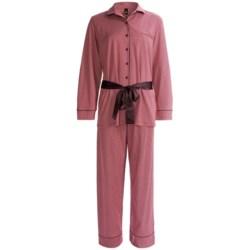 Calida Ingrid Button-Front Pant Pajamas - Interlock Cotton, Long Sleeve (For Women) in Hip Red