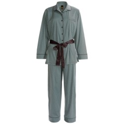 Calida Ingrid Button-Front Pant Pajamas - Interlock Cotton, Long Sleeve (For Women) in Hip Red