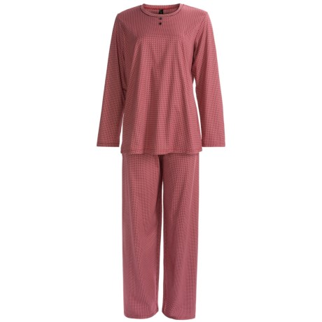 Calida Ingrid Pant Pajamas - Cotton Interlock, Long Sleeve (For Women) in Hip Red