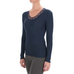 Calida Kirstin V-Neck Shirt - Wool-Silk, Long Sleeve (For Women) in Black Iris