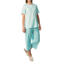 Calida Lady Tulip Damen Pajamas - Short Sleeve (For Women) in Sky Line Mint - Closeouts
