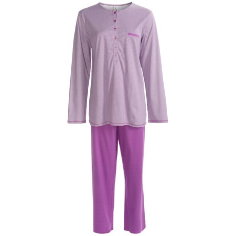 Calida Lavender Breeze Pants Pajama Set - Cotton, Long Sleeve (For Women) in Violet