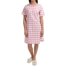 Calida Lavender Fields Plaid Nightshirt - Short Sleeve (For Women) in Barely Pink - Closeouts