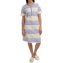 Calida Lavender Fields Plaid Nightshirt - Short Sleeve (For Women) in Blue Violet - Closeouts