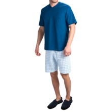 Calida Limber Pine Cotton Pajamas - V-Neck, Short Sleeve (For Men) in Limoges Blue - Closeouts