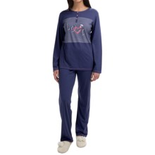 Calida Lovely Sunshine Pajamas - Long Sleeve (For Women) in Blue Ribbon - Closeouts