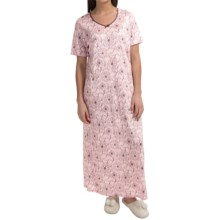 Calida Margarite Long Nightgown - Micromodal®, Short Sleeve (For Women) in Barely Pink - Closeouts