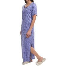 Calida Margarite Long Nightgown - Micromodal®, Short Sleeve (For Women) in Blue Violet - Closeouts