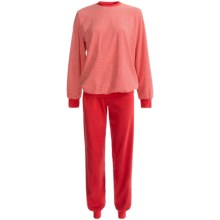 Calida Marina Cuffed Pajamas - Cotton Terry, Long Sleeve (For Women) in Bittersweet - Closeouts