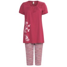 Calida Morning Glow Capri Pajamas - Interlock Cotton, Short Sleeve (For Women) in Hip Red - Closeouts