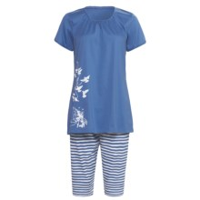 Calida Morning Glow Capri Pajamas - Interlock Cotton, Short Sleeve (For Women) in Riviera - Closeouts