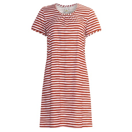 Calida Morning Glow Nightshirt - Interlock Cotton, Short Sleeve (For Women) in Hip Red