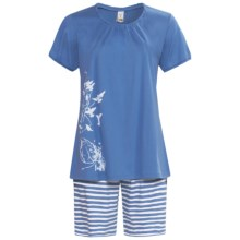 Calida Morning Glow Short Pajamas - Interlock Cotton, Short Sleeve (For Women) in Riviera - Closeouts