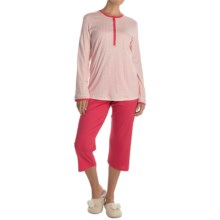 Calida My Way Supima® Cotton Pajamas - Capris, Long Sleeve (For Women) in Bittersweet - Closeouts