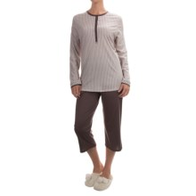 Calida My Way Supima® Cotton Pajamas - Capris, Long Sleeve (For Women) in Mallow - Closeouts