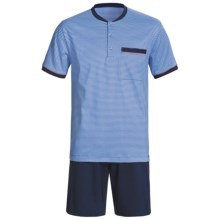 Calida Ocean View Pajamas - 3-Button, Short Sleeve (For Men) in Regetta - Closeouts