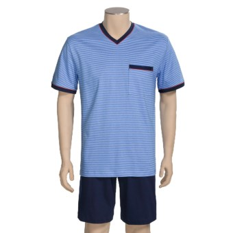 Calida Ocean View Short Pajamas - Short Sleeve (For Men) in Regetta