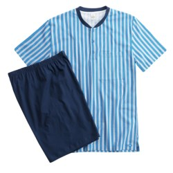 Calida Off Shore Single-Jersey Pajamas - Short Sleeve (For Men) in Navy