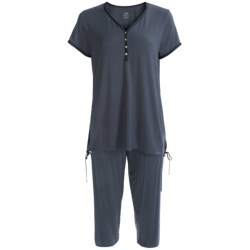 Calida Opium Capri Pajamas - Stretch Micromodal®, Short Sleeve (For Women) in Stonewash Mele