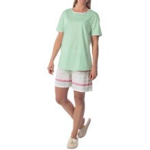 Calida Petunia Stripe Pajamas - Short Sleeve (For Women) in Brook Green - Closeouts